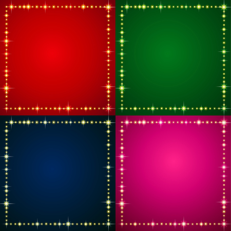 marriage night: A set of 4 holiday backgrounds with illumination frame. Empty template for your design Illustration