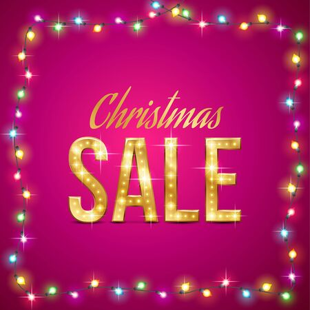 christmas lights background: Design for Christmas sale. Gold text in the garland lights on pink background