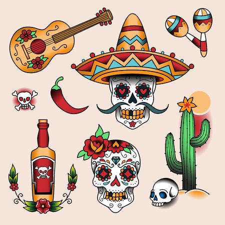 skull design: Mexican symbols. Set of  color tattoos in traditional vintage style Illustration