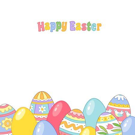Huevos de Pascua pintados sobre fondo blanco. Tarjeta de felicitación.