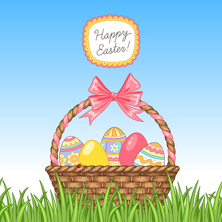 Easter greeting card. Cute basket with easter eggs in green grass Vettoriali