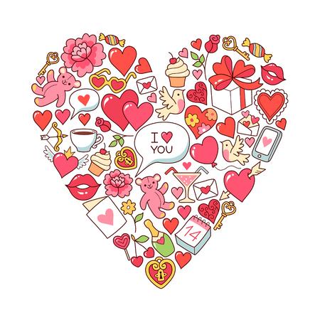 st  valentine: Heart symbol of St. Valentine on white background. Greeting card