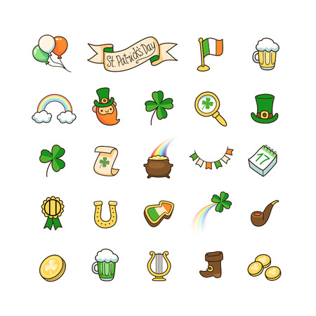 saint: Set of cute icons to St. Patricks day. Vector Illustration for your design