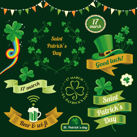 Set of design elements for  decoration of St. Patricks Day Illustration