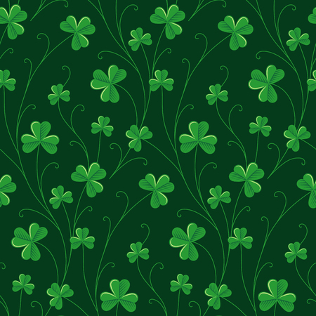 fields  grass: Green decorative clover on dark green background. Seamless pattern for St. Patricks day
