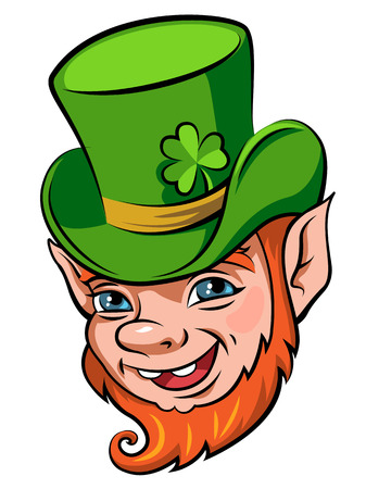 clover face: Head of a smiling leprechaun, the symbol of St. Patricks day isolated on white background Illustration