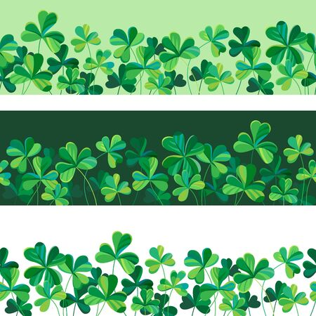 bottom: Set of bottom borders made of  clover. Illustration for St. Patricks day Illustration