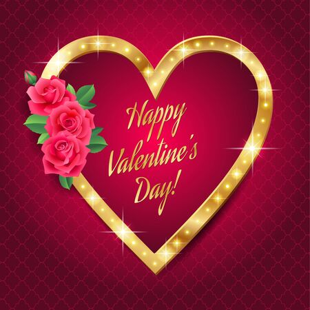 Shining gold frame in the shape of a heart on red background. Card for of St. Valentine Illustration