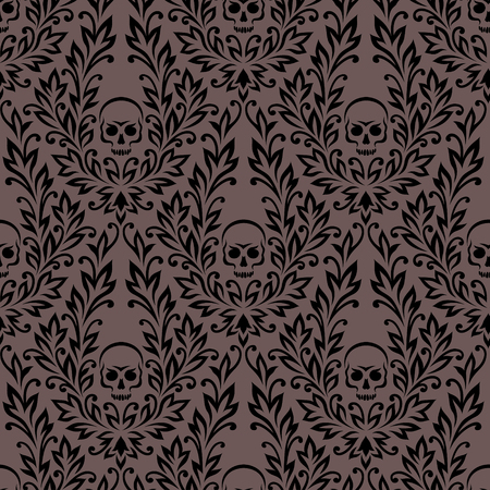 wallpaper floral: Victorian seamless pattern. Black floral ornament with skulls.