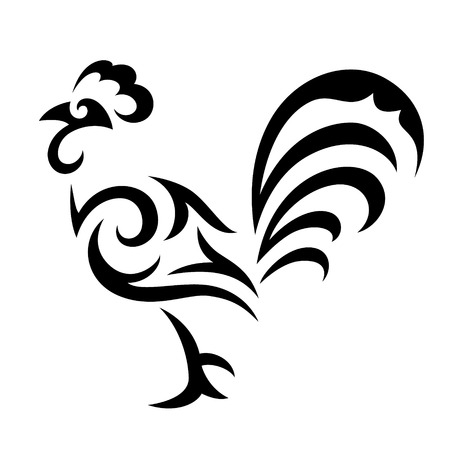 양식에 일치시키는 수탉 - 2,017년의 상징. 검은 색 흰색 배경에 고립 일러스트