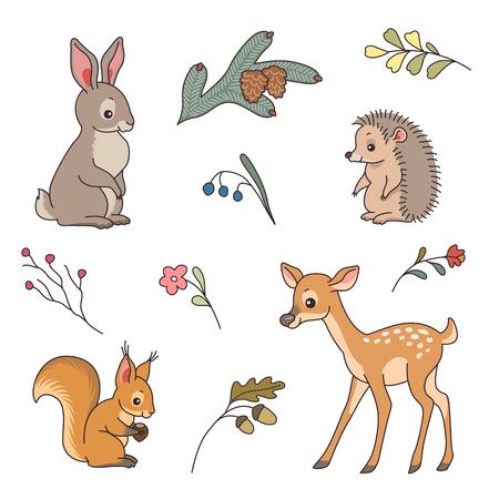 Set d'animaux mignons forestiers. Lapin, le cerf, le hérisson et l'écureuil dans un style de bande dessinée