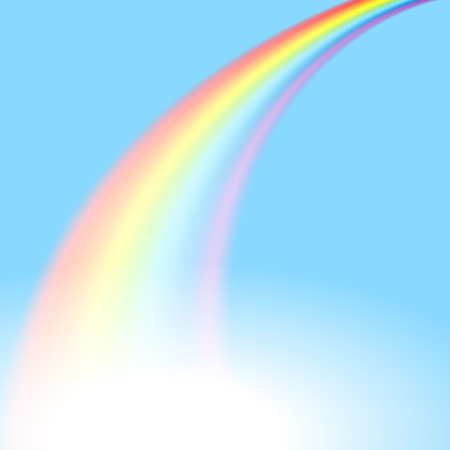 The picture of rainbow in perspective on a blue sky Ilustração