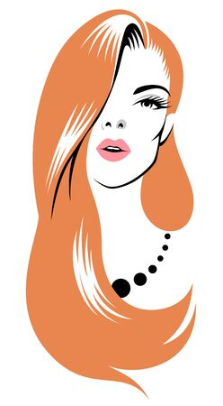 Stylized portrait of a beautiful young woman with long red hair