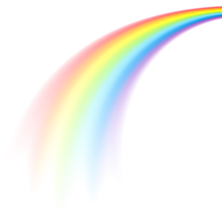 The picture of rainbow in perspective isolated on white background