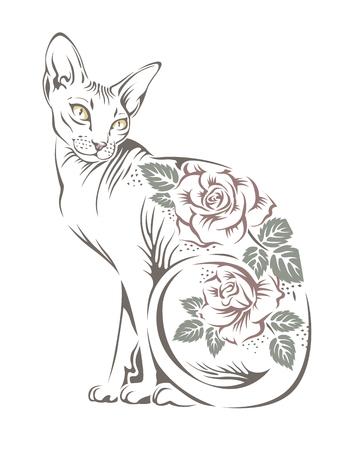 immagine stilizzata di una sfinge gatto di razza con i fiori sulla parte posteriore. Stencil per il vostro disegno