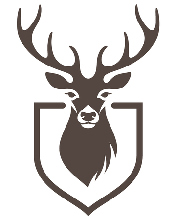 Stylized head of a deer on the shield. Symbol of hunting for your design Stock Illustratie