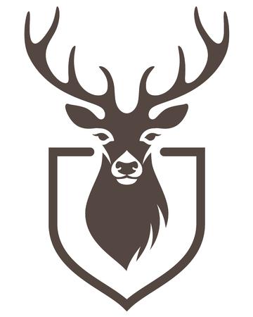 Stilisierte Kopf eines Hirsches auf dem Schild. Symbol der Jagd für Ihr Design