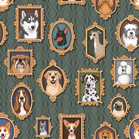 lap dog: Cute vintage portraits of dogs. Seamless pattern for your design.