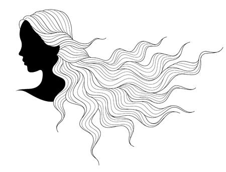 cabeza femenina: Silueta de la cabeza de una joven con la que fluye pelo largo. Negro ilustración aislado sobre fondo blanco Vectores