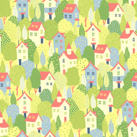 windows home: Nice houses in the green trees. Spring seamless pattern for your design