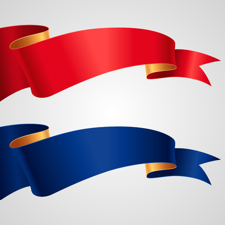 caption: The set of red and blue ribbons for your design and decoration