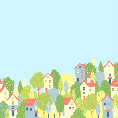 windows home: Cute houses in the green trees. Spring background for your design