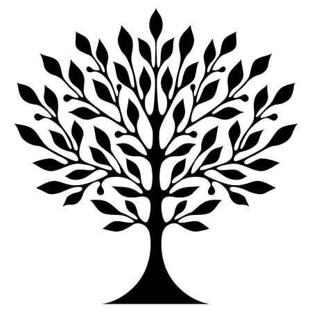Un árbol estilizado negro sobre fondo blanco