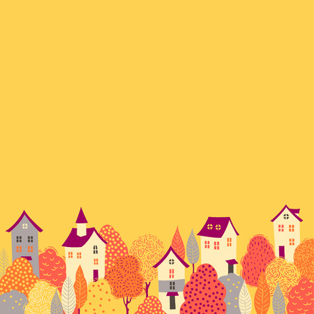 yellow roof: Cute houses in the yellow trees. Autumn seamless pattern for your design Illustration