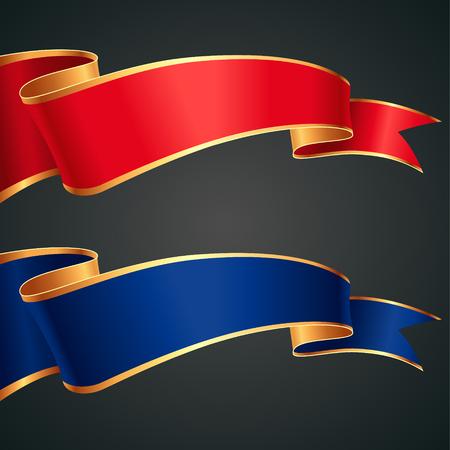 골드 가장자리 빨간색과 파란색 리본 세트 일러스트