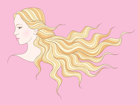 female pink: Beautiful young girl with long wavy hair. Illustration for your design