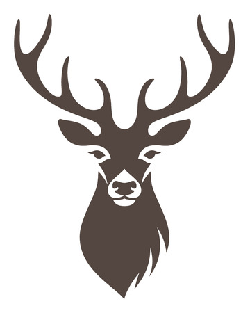 Stylized deer head isolated on white background Illustration