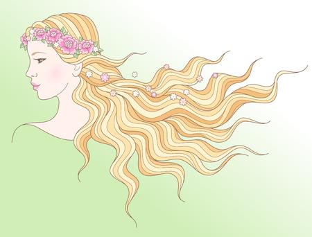Una giovane ragazza di bellezza in una corona di fiori con i capelli lunghi che scorre