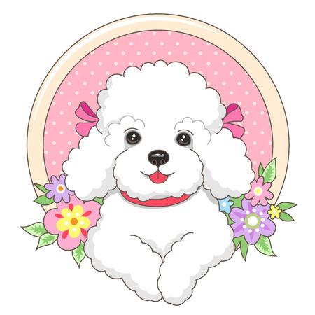 flor caricatura: Perrito faldero blanco en un marco con flores en el estilo de dibujos animados. Ejemplo lindo para su diseño