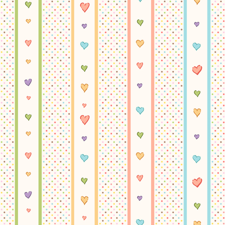 cute background: Abstract seamless pattern for your design. Cute colorful hearts stripes on a light background