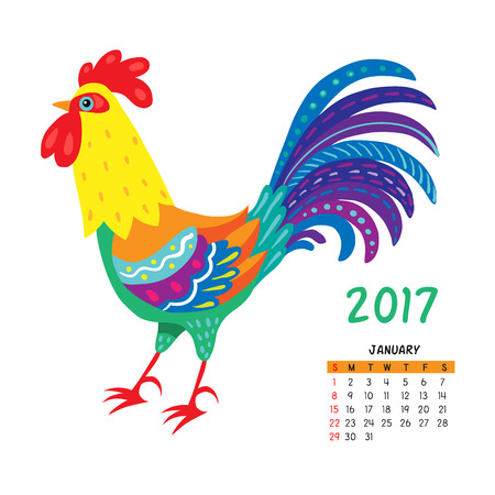 Calendar for january 2017 isolated on white,  with the rooster - symbol of the year.