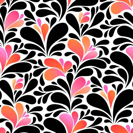 Abstract floral splashes black and pink. Seamless pattern for your design