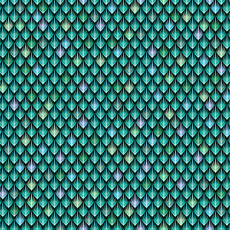 fish illustration: The scales of the green dragon. Abstract seamless pattern for your design