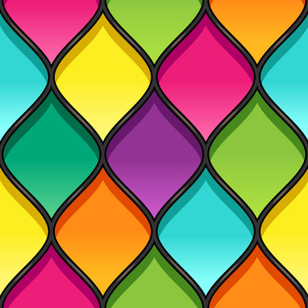 Multicolor stained glass with black partitions. Seamless geometric pattern for your design