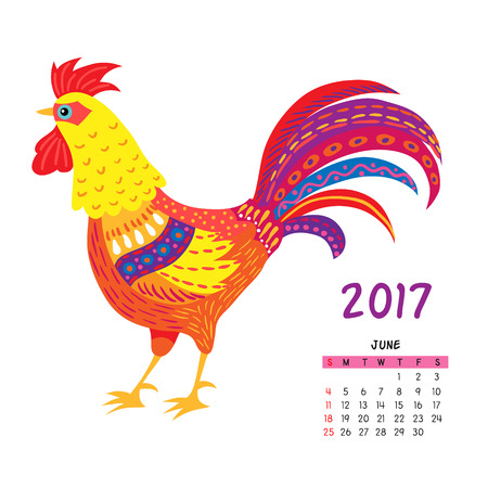 Calendar For June 2017 Isolated On White With The Rooster