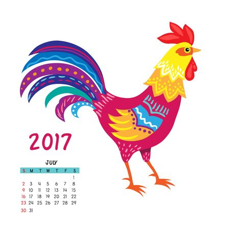 year of the rooster: Calendar for july 2017 isolated on white,  with the rooster - symbol of the year.