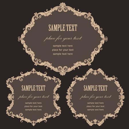 baroque style: Set of vintage baroque style frames for your design. Illustration