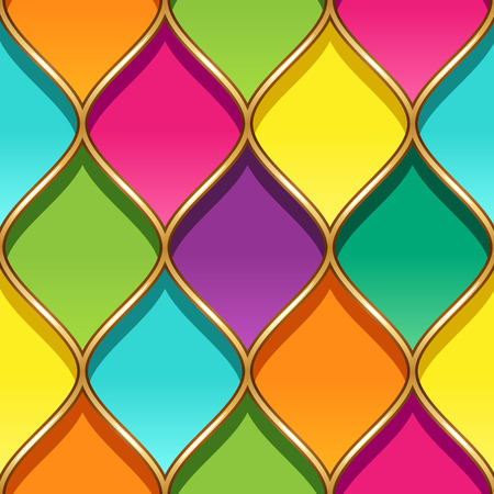 Multicolor stained glass with Golden partitions. Seamless geometric pattern for your design