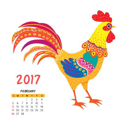 year of the rooster: Calendar for february 2017 isolated on white,  with the rooster - symbol of the year. Illustration