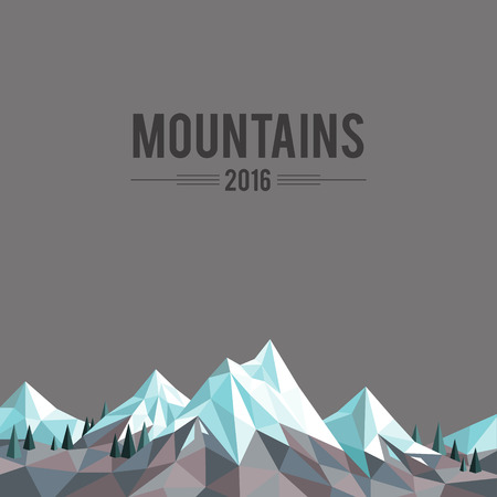 Polygonal abstract snow-capped mountains on grey background Illustration