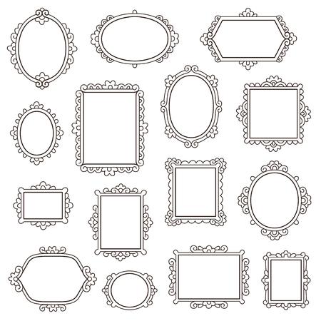 Conjunto de pequeños marcos vintage para su diseño aislado en blanco