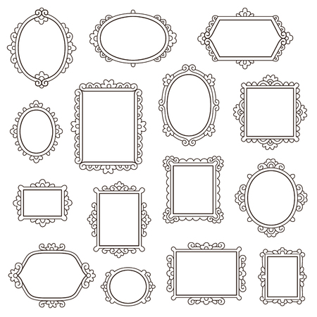 Set of small vintage frames for your design isolated on white Illustration