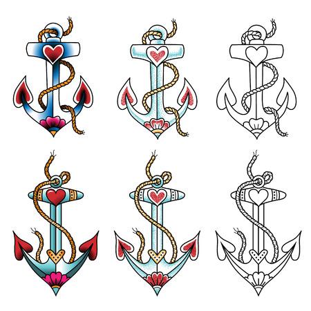 Conjunto de anclas flotantes. tatuajes de color en el estilo tradicional aislados en blanco