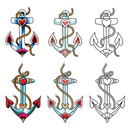 ship anchor: Set of sea anchors. Color tattoos in traditional style isolated on white