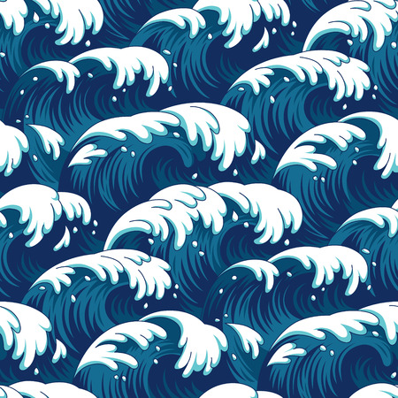 breeze: Blue waves in a stormy sea. Seamless pattern for your design Illustration