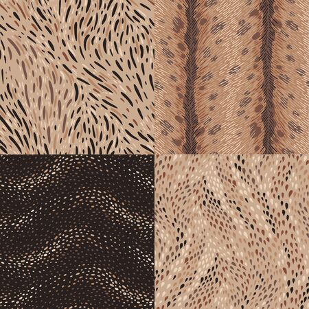skin color: Animal fur and reptile skin. A set of abstract seamless patterns